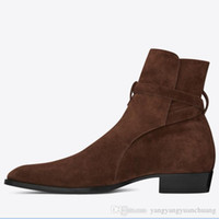 Wholesale genuine leather boots men resale online - High Top Suede Genuine Leather Harry wyatt charm Boots wedge slp fashion men classic black red brown ankle strap denim boots