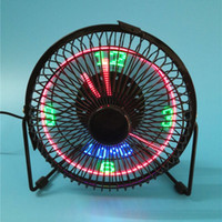Wholesale timed lights for sale - Group buy USB clock fan LED light emitting inch iron art fan real time temperature display fan