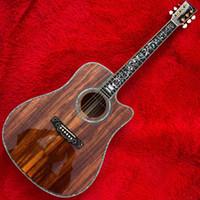 Wholesale cherry guitar factory resale online - 2020 Factory Outlet Side Back KOA Plate Abalone shell inlaid ebony fingerboard free of freight