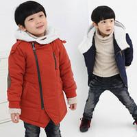 abrigos para niños pequeños al por mayor-Niños Otoño Invierno abrigos con capucha de algodón acolchado-Casual Niños gruesas chaquetas para Niños 3-12Y Niño Adolescentes Niños Prendas de abrigo