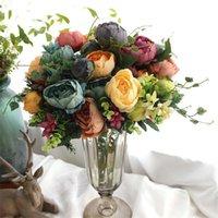 ingrosso rose di peonia falso-7-12 teste / bouquet Grandi fiori artificiali di peonia Fiori finti Rose Flores Bouquet Fiore di seta per la decorazione domestica di nozze Mariage