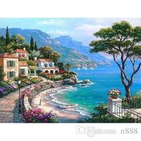 Wholesale mediterranean art oil for sale - Group buy The Mediterranean Sea Handpainted HD Print Seascape Art oil painting Home Decor Wall Art High Quality On Canvas l223