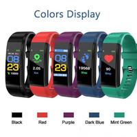 ücretsiz tansiyon monitörleri toptan satış-DHL ücretsiz Renkli LCD Ekran ID115 Artı Akıllı Bilezik Spor Izci Pedometre Watch Band Nabız Kan Basıncı Monitörü Akıllı Bileklik