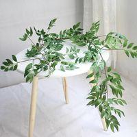 yeşil yaprak plastik toptan satış-1.7 M Simülasyon Söğüt Asma Yaprağı Yapay Bitkiler Hasır Asılı Yeşil Bitki Ev Dekor Plastik Yapay Çiçekler Rattan Hiç GGA2528