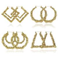 grandes brincos de bambu de ouro venda por atacado-2019 de jóias de luxo Múltiplas Formas étnico Grande Vintage banhados a ouro Bamboo Hoop Brincos para Mulheres 9 Modos de livre escolha
