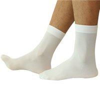 männer sexy schwarze seide großhandel-20 paare / los Hohe Qualität Marke sexy ultradünne transparente Männer Casual Black Silk Socks Männlich Weiß schwarz grau blau dünne Socken