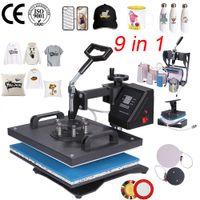 thermal printer großhandel-Doppelte Anzeige 9 in 1 kombinierter Hitze-Presse-Drucker-Maschine 2D Thermotransferdrucker für Kappen-Becherplatte T-Shirts Druckmaschine