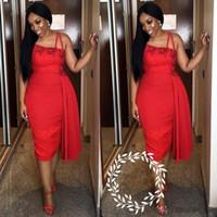 um vestido vermelho da bainha do ombro venda por atacado-Sexy Um Ombro Bainha Vestidos de Cocktail 2019 Red Lace Chá Comprimento Curto Desgaste Do Clube Vestido de Festa de Baile Para As Mulheres