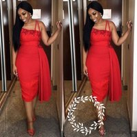 una funda de encaje sexy hombro al por mayor-Sexy un hombro vestidos de cóctel de la envoltura 2019 rojo de longitud de té de encaje corto Club Wear vestido de fiesta de baile para las mujeres