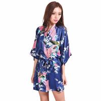 marineblaue seidenblumen großhandel-Großhandelsmarineblau-chinesisches weibliches silk Robe-Kleid-reizvolles Minikimono-Yukata-Kleid FlowerPeacock Mujer Pijama S M L XL XXL XXXL NR103