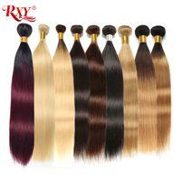 ombre bakire saç toptan satış-Renkli Düz Saç Demetleri İşlenmemiş Virgin İnsan Saç Ombre Düz Demetleri # 2 / # 4 / # 27 / 99J / # 613 Sarışın Brezilyalı Saç Örgü Demetleri