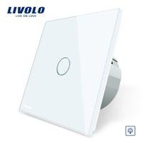 interruptor de pandillas al por mayor-Livolo EU Interruptor de pared con atenuador estándar, CA 220 ~ 250V, Panel de vidrio de cristal, 1 Gang de 1 vías