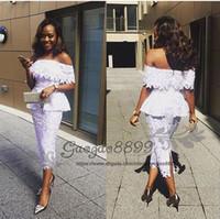 vestido de cóctel de encaje blanco modesto al por mayor-Barato elegante nigeriano de encaje Longitud del té Vestidos de cóctel Cuello cruzado con cuello en la espalda Dividir Árabe Formales cortos vestidos de noche