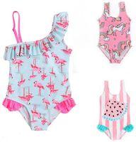 neues heißes bikini mädchen großhandel-Neues heißes verkaufendes Regenbogenmädchen scherzt Badebekleidungssommer Mädchen-Blumendruckbadeanzug Strand-Bikini