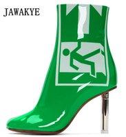 металлическая каблук оптовых-2019 зеленая кожа легче пятки сапоги женщина круглый носок безопасности знаки выхода Серебряный металл странные пятки обувь Женская мода ботильоны
