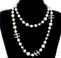 collar de eslabones náuticos al por mayor-2019 Nuevo Collar de Cadena Suéter Largo Collar Maxi Collar de Perlas Simuladas Mujeres Joyería de Moda Bijoux Femme Regalos de Navidad