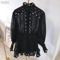 siyah beyaz pist elbiseleri toptan satış-Milan Pist Elbise 2019 Siyah / Beyaz O Yaka Uzun Kollu kadın Elbise Ile Dantel Yüksek Son Tasarımcı Vestidos De Festa 662