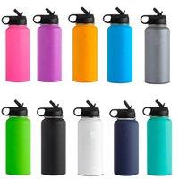 a2 rostfreier stahl großhandel-32 Unzen Vakuum-Wasserflasche mit Stroh Deckel Wide Mouth vakuumisolierte Edelstahl-Tasse Becher trinken Becher Cup MMA2553-A2