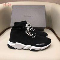 спортивная обувь дышащая подошва оптовых-роскошные ботинки дышащий стрейч носки обувь мужчины Женщины Повседневная шнуровке кроссовки спортивные носки сапоги черный цвет подошва белый с черным