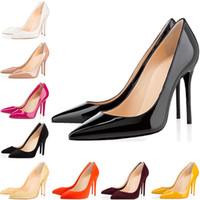 sarı siyah yüksek topuklu toptan satış-Christian Louboutin ACE Lüks Tasarımcı Kadın Ayakkabı Kırmızı Alt Yüksek Topuklu 8 cm 10 cm 12 cm Beyaz Siyah Sarı Deri Sivri Burun Pompaları Gelinlik Ayakkabı 35-42