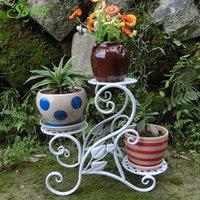 flores de jardim de ferro venda por atacado-Decoração de Jardim criativo Ferro Flor Rack 3 Camada Planter Titular Piso Estilo Vaso de Plantas De Rack Prateleira de Mesa Plantas de Armazenamento