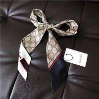 атласные сумки оптовых-НОВЫЙ Дизайнерский шарф женский тонкий узкая ручка сумки шелковый шарф двусторонняя саржа с принтом атласная марка маленькая лента
