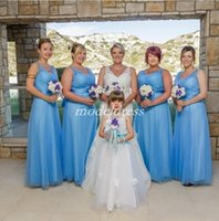 ingrosso abiti da sposa blu dell'oceano-2019 Ocean Blue Abiti da sposa scollo a V Backless Piano Lunghezza Sash Plus Size Paese Giardino Spiaggia Abiti da sposa Guest Maid Of Honor Dress