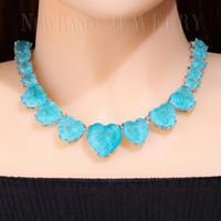 mavi kolye doğal taş toptan satış-Newranos Kalp Kristal Kolye Mavi Kadınlar için Doğal Fusion Taş Gerdanlık Kolye Moda Takı NFX0013124