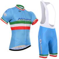 ropa de ciclismo astana al por mayor-Crossrider 2019 Equipo Astana Ciclismo Jersey Bike Manga corta Set Mtb Ropa Ciclismo Pro Ciclismo Ropa Hombre Bicicleta Maillot Culotte