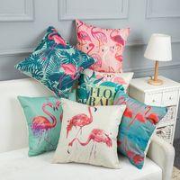 kuş arabaları toptan satış-Flamingo Yastık Kılıfı Kanepe Yastık Flamingo Kuşlar Minder Kapak Ofis Araba Yastık Örtüsü Dekor Noel Dekor Hediye Tutun