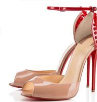 eu kleider großhandel-Neue Marke Rote Unterseite Frauen Mode Nieten High Heels Kleid Schuhe Nude Lackleder 12 cm Ferse Offene Zehen Sandalen große größe EU 34 bis 42