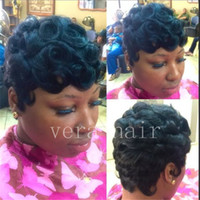 Wholesale best virgin wigs resale online - Celebrity Wig Peruvian Virgin Cut Hair Wig Best Human Hair Wigs Curly Short Cut Pixie Girl Wig for Black Women