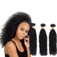 ingrosso i venditori di capelli di vergine bundle-Fasci di tessuto brasiliano dei capelli Kinky Curly Wave 100% capelli umani 8-28 pollici 1/3/4 Bundle Deals Curly Double Drawn Raw Virgin Vendors