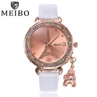 pulseras de cuero reloj eiffel al por mayor-Moda mujer pulsera reloj de cuarzo reloj de cuero PU torre Eiffel Rhinestone colgante envío gratis