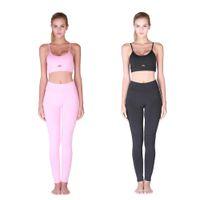 black female yoga pants al por mayor-Yoga mujeres del deporte delgado Establece venta caliente elástico juego de gimnasia Correr Rosa Negro ropa de la aptitud Bra Sets pantalones femeninos