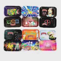 metallschalen großhandel-Rolltablett Größe 27cm * 17,5cm * 2,3cm Metall Tabak Messingplatte Kräuterhandroller Dragon Ball Pikaqiu Rick und Morty Tabletts