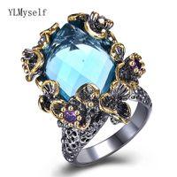 große blaue blumentöpfe großhandel-Fantastische große blaue Kristallringe trendy Schmuckschwarzes überzogene schnelle Verschiffenqualitätsschmucksachen große Ringblume