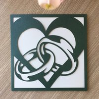 ingrosso anelli di stile moderno-20PCS / lot Hollow Laser Cut Modern Heart e Ring Style si applicano a carte di invito a nozze Carte regalo di San Valentino
