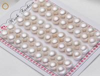 gevşek tatlısu doğal incileri toptan satış-Beyaz Doğal Tatlısu Inci Cabochons Düz Geri Yarım Delikli Gevşek Inciler 6mm-10mm Beyaz Inciler DIY için Toptan