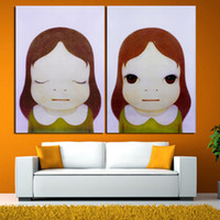 Wholesale baby room paint decor resale online - Yoshitomo Nara Cartoon Canvas Art Pictures Sleepwalking Doll Drawing Japanese Painting Prints For Baby Kids Children Room Decor