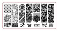 Wholesale xl stamping plates resale online - 10PCS S BC Stamping Nail Art Image Plate Design Rectangle XL Stencil Plastic lace flower patterns manicure template stencil
