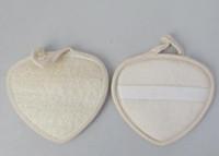 натуральная мочалка для ванны оптовых-БДХ 14X13CM формы сердца коврик для натуральной люфы задней колодки люфой губка ванна душ тело скруббер эксфолиатор колодки