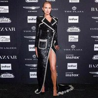 kokteyl maxi elbise uzun siyah toptan satış-Yeni Varış Moda Gösterisi Siyah Pullu Uzun Coat Yüksek Kalite Uzun Kollu Ince Bölünmüş Maxi Celebrtiy Kokteyl Parti Elbise Vestidos