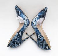 keile 12cm ferse großhandel-Delicate2019 Girl Season Scharfe blaue hochhackige Snake Single Fine Schuhe mit 12cm Nachtclub