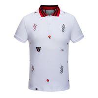 ingrosso magliette rosse colletto-19SS The New Summer Snake Bee Ricamo in cotone bavero mens designer t-shirt moda coltivare moralità colletto rosso camicie firmate