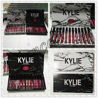 Wholesale collection kylie lipstick resale online - New Kylie Liquid lipstick lipgloss MATTE VELVET colors collection Makeup lip gloss marble lipgloss Black white box with fast shipping