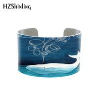 arte da parede do oceano venda por atacado-HZSHINLING Prata veleiro alumínio manguito oceano pintura da aguarela original pulseira azul wall decor handmade jóias arte berçário