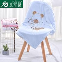 теплое полярное флисовое одеяло оптовых-однотонное флисовое одеяло с двойной вышивкой