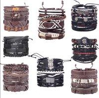 armband trends leder groihandel-Europäischer und amerikanischer Retro-Punk-Armband Kombination mehrschichtige Blattfeder PU Leder handgefertigt Trend Armband Schmuck