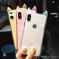 caja del teléfono orejas de gato al por mayor-Newtopsell Fashion Cute Cartoon Cat Ears Funda para teléfono para iPhone 8 6 6S 7 Plus Ultra Slim Silicon Clear Clear Back Cover para iPhone X XS xr max